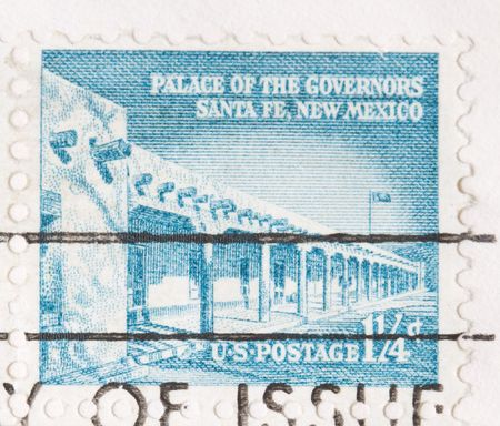 sante: this is a Vintage 1960 canceled US stamp Palace of Governors Sante Fe Stock Photo