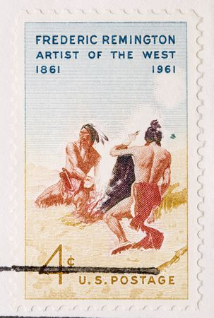 frederic: This is a Vintage 1961 Canceled US Postage Stamp Frederic Remington