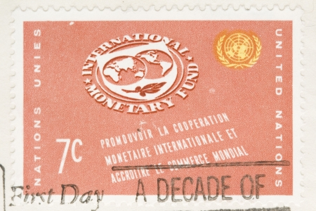 This is a Vintage 1961 Canceled US Postage Stamp International Monetary Fund Stock Photo