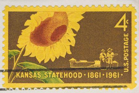 statehood: This is a Vintage 1961 Canceled US Postage Stamp Kansas Statehood
