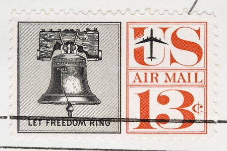 This is a Vintage 1961 Canceled US Postage Stamp Let Freedom Ring photo