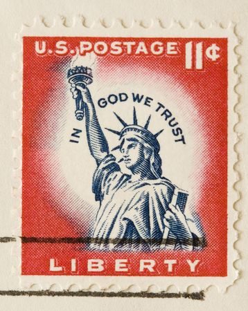 postal office: This is a Vintage 1961 Canceled US Postage Stamp Statue of Liberty