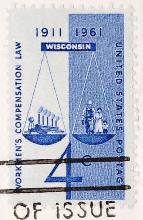 this is a Vintage 1961 Canceled US Postage Stamp Workers Compensations Law