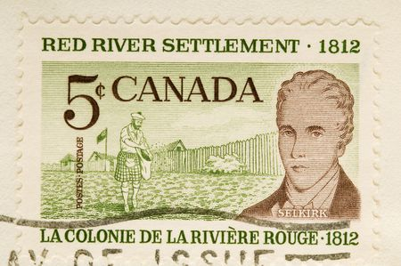 canada stamp: This is a Vintage 1961 Canceled Canadian Postage Stamp Red River Sttlement Stock Photo