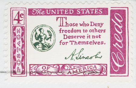 credo: Vintage 1960 Canceled US Postage Stamp abraham lincoln credo