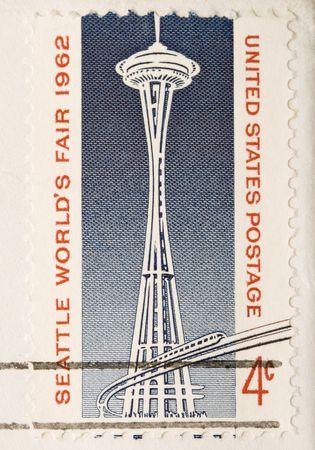 이 빈티지 1962 취소 된 미국 우표 공간 바늘입니다. 스톡 콘텐츠