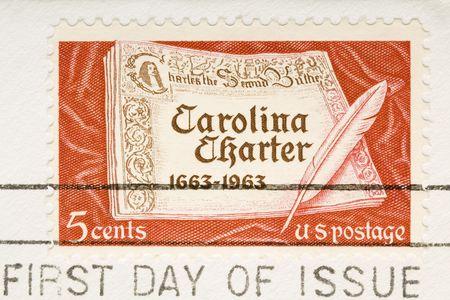 이 빈티지 1963 취소 된 미국 스탬프 캐롤라이나 헌장입니다. 스톡 콘텐츠