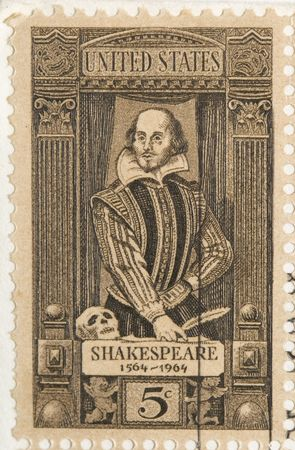postal office: This is a Vintage 1964 Stamp Shakespeare