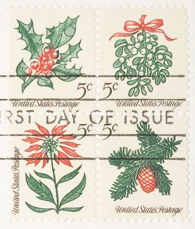 This is a Vintage 1966 Stamp Christmas Plantsespeare Stock Photo