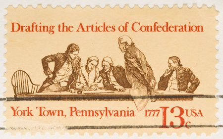 articles: This is a Vintage 1977 Stamp  Drafting Confederation Stock Photo