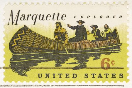 marquette: This is a Vintage 1968 Stamp Marquette Explorer Stock Photo
