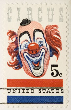 This is a vintage 1966  Stamp  Clown Stock Photo