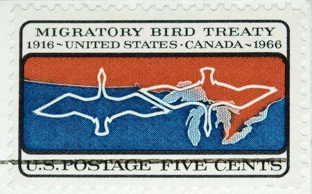verdrag: Dit is een vintage 1966 Stempel trekvogelsoorten Verdrag Stockfoto