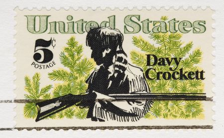postmark: This is a vintage 1967 Stamp Davy Crockett Stock Photo
