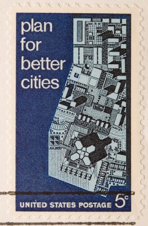This is a Vintage US Stamp 1967 Plan for Better Cities Stock Photo - 3655676