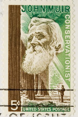 conservationist: This is a Vintage 1964 Postage Stamp john muir conservati Stock Photo