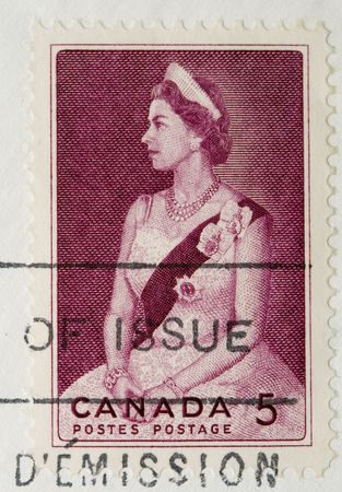 canada stamp: This is a Vintage 1964 Postage Stamp Queen of England Canada Editorial