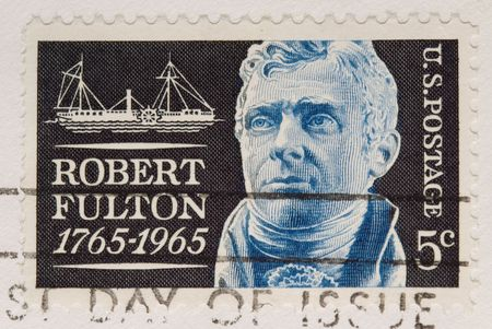 This is a Vintage 1964 Postage Stamp Robert Fulton Stock Photo
