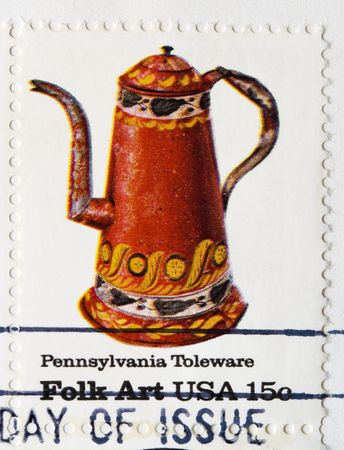 postmark: This is a Postage Stamp pennsylvania Toleware Stock Photo