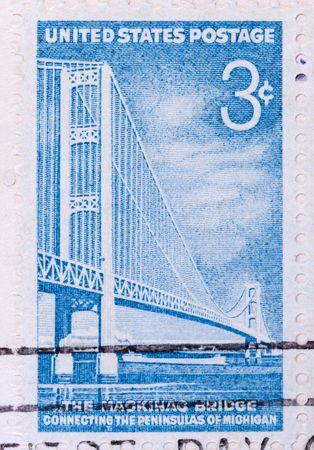 mackinac: This is a Postage Stamp Mackinac Bridge Stock Photo