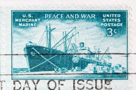 merchant: This is a Postage Stamp US Merchant Marine wwii Stock Photo