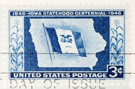 statehood: This is a Vintage Postage Stamp  Iowa Statehood Centennial 1946