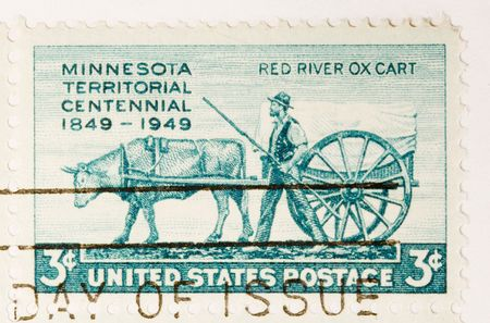 centennial: This is a Vintage Postage Stamp Minnesota Territorial Centennial