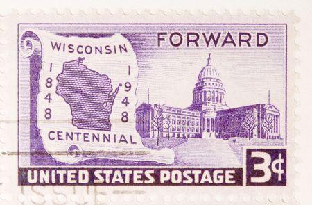 centennial: Questo � un Vintage Postage Stamp Wisconsin Centennial 1848 - 1948
