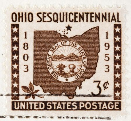 USA - CIRCA 1953: A stamp printed by USA shows the state of Ohio Seal and border for Ohio s Centennial, circa 1953.This is a Vintage Postage Stamp Ohio Sesquicentennial 1953