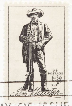 USA - CIRCA 1964: A stamp printed by USA shows the Sam Houston with a rifle circa 1964.