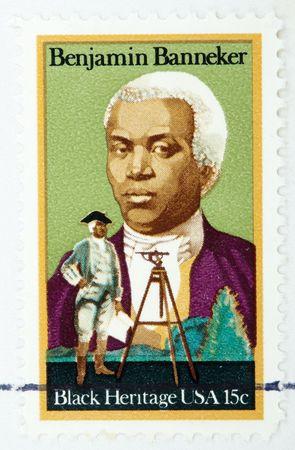 almanac: USA - CIRCA 1980: A stamp printed by USA shows Benjamin Bannekerhe was a was a free African American astronomer, mathematician, surveyor, almanac author and farmer circa 1980. Stock Photo