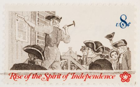 USA - CIRCA 1973: A stamp printed by USA shows the proclimation of the declaration of independence circa 1973 Stock Photo - 6103619
