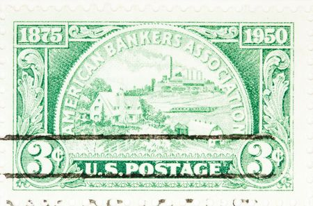 USA - CIRCA 1950: A stamp printed by USA shows American Bankers Association Anniversary circa 1950 Banco de Imagens