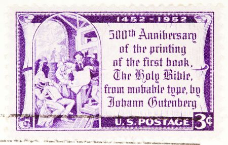 moveable: USA - CIRCA 1952: A stamp printed by USA shows the 500th anniversary of printing the gutenberg bible y circa 1952