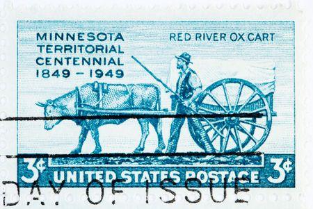 postmark: USA - CIRCA 1949: A stamp printed by USA shows the centennial of Minnesota Territory circa 1949 Stock Photo