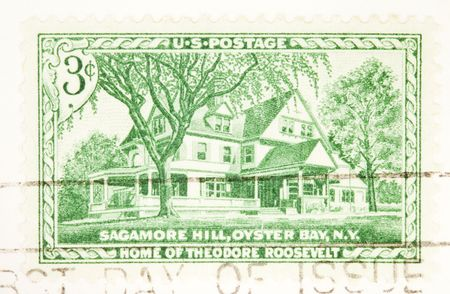 theodor: USA - CIRCA 1953: A stamp printed by USA shows Sagamore Hill home of Theodor Roosevelt circa 1953 Stock Photo