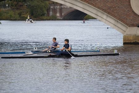 sculling: This is Boston, Ma 10 18 2008 Grand-Master  Singles 50+ in Charles Regatta Racers Michael Murray (54),Gus Stuart(53)