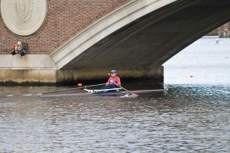 sculling: BOSTON - OCTOBER 18: In the Head of Charles Regatta, On October 18th, 2008 Racer Michael Phelan of St. Catharines Rowing Club races to pass under the Weeks Footbridge finishing 46th.