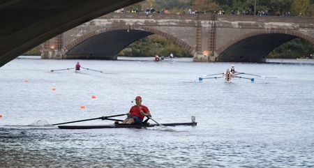 sculling: BOSTON - OCTOBER 18: In the Head of Charles Regatta, On October 18th, 2008 Racer Ernie Parizeau races to pass under the Weeks Footbridge finishing 43rd. Editorial