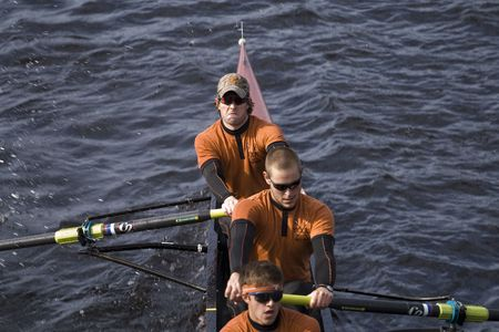 BOSTON - OCTOBER 19:  The University of Texas Mens Rowing Team race in the In the Head of Charles Regatta, on October 19th 2008, placing 15th.