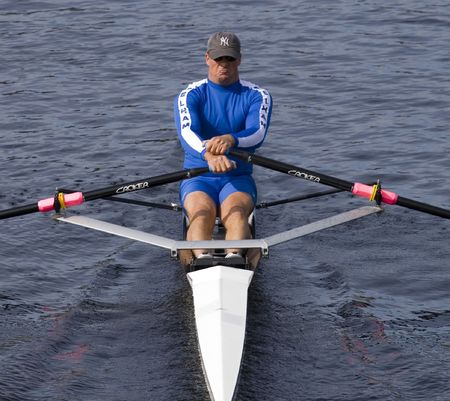 BOSTON - OCTOBER 19: In the Head of Charles Regatta, Sean Schulich of the Pelham Community Rowing Association, on October 19th, 2008 places 17th in the Singles Masters Race. Editorial