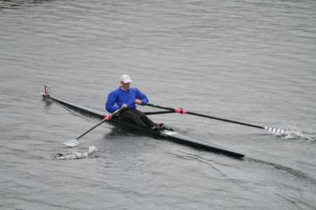 sculling: BOSTON - OCTOBER 18: Bjorn Anders Holmber of Sweden competes in the Head Of The Charles Regatta mens Masters Race (winning with a time of 19:11) on October 18, 2009 in Boston, Massachusetts. Editorial