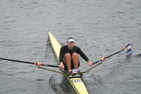 sculling: BOSTON - OCTOBER 18: Mark Lodmill of Rocky Mountain Rowing Club competes in the Head Of The Charles Regatta mens Masters Race on October 18, 2009 in Boston, Massachusetts. Editorial
