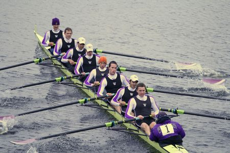 BOSTON - OCTOBER 18: Williams College Boat Club womens rowing team competes in the Head Of The Charles Regatta on October 18, 2009 in Boston, Massachusetts. Editorial