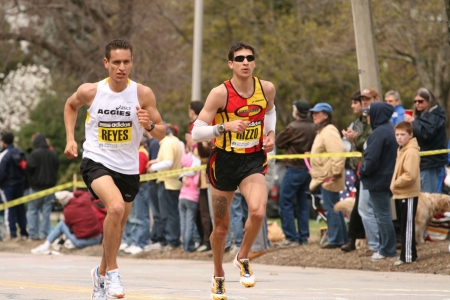 Boston, Ma 04 20 2009 Reyes and Rizzo race each other up Heartbreak Hill during the Boston Marathon