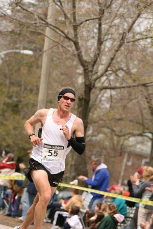 Boston, Ma 04 20 2009 Michael McKeeman races up Heartbreak Hill during the Boston Marathon finishing 25th Editorial