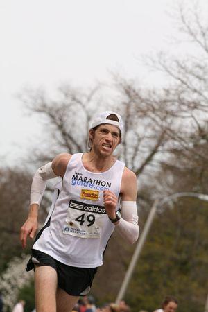 Boston, Ma 04 20 2009 Michael  Wardian races up Heartbreak Hill during the Boston Marathon