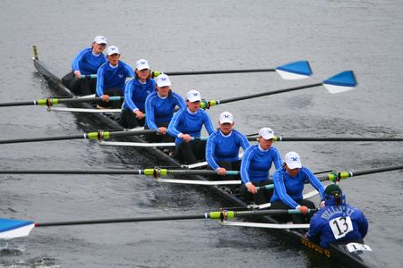 row boat: BOSTON - OCTOBER 18: Wellesley College womens rowing team competes in the Head Of The Charles Regatta on October 18, 2009 in Boston, Massachusetts.