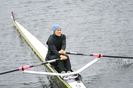 sculling: BOSTON - OCTOBER 18: Julie Dykema competes in the Head Of The Charles Regatta Womens Masters Race October 18, 2009 in Boston, Massachusetts.  Editorial
