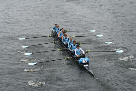 BOSTON - OCTOBER 18: University of North Carolina at Chapel Hill-Mens Crew mens rowing team competes in the Head Of The Charles Regatta October 18, 2009 in Boston, Massachusetts.
